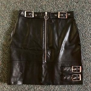 Black Faux Leather Buckle Skirt